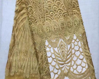 Gold Tulle Lace/ African Lace