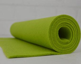 "3 mm Wool Felt - Thick Wool Felt - 100% Wool Felt - Industrial Felt - Wool Felt Fabric - Lime Green - 3mm thick -  12""x36"""