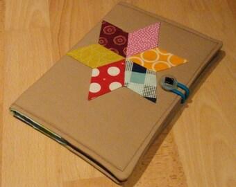 A5 Diamond Star Pattern Handmade Linen Notebook Cover with Lined Notebook / Notebook Cover / Stationery / Journal / Diary