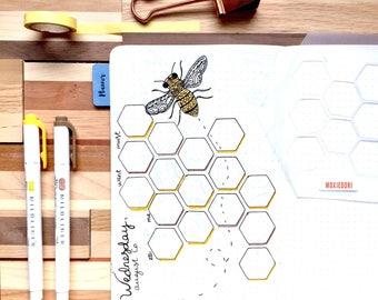"Hexagon Stencil  - Bullet Point Journal Stencil, fits TN, Leuchtturm and Moleskine 5"" by 7"""