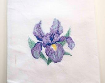 Watercolor Iris Tea Towel | Personalized Kitchen | Embroidered Kitchen Towel | Flower Towel | Kitchen Towel | Personalized Kitchen Gift