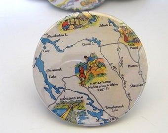 Vintage Travel Map Pin - Badge - Mt. Katahdin & Grand Lake