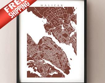 Halifax Map - Nova Scotia Art Poster