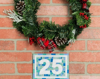 Blue House Number Sign in Blue Mosaic Tiles Horizontal or Vertical, Made for Outdoors