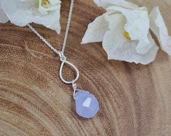 Pastel Chalcedony Sterling Silver Pendant, Natural Gemstone, Necklace, Teardrop, Bridesmaid Necklace, Blue, Wire Wrap, Ready to Ship