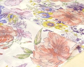 Japanese Fabric Peonies lawn - peach, pink - 50cm