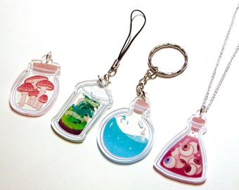 Potion bottle illustrated charms / necklaces / keyrings - clear acrylic