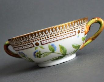 Royal Copenhagen - Flora Danica - Large Bouillon Cup # 3612 - Fedia Olitoria - Vintage Royal Danish Porcelain - Excellent Condition