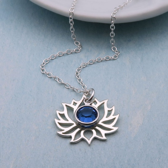 Sterling silver lotus necklace personalized lotus flower sterling silver lotus necklace personalized lotus flower necklace custom birthstone necklace silver flower pendant lotus jewelry aloadofball Choice Image