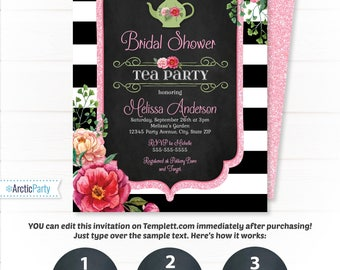 Tea party bridal shower invitation etsy bridal shower tea party invitations filmwisefo