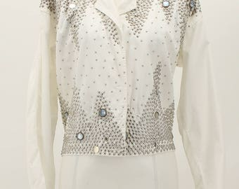 G A R Hand Crafted Jacket White Studded Medium