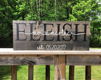 Wedding Gift - Anniversary Sign - Last Name Sign - Bridal Shower Gift - Rustic - Custom Personalized - Gift for Couple - Gift for Bride