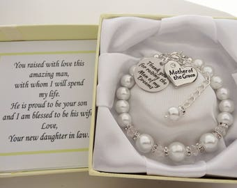 Mother of the groom Thank you for raising the man of my dreams Wedding Bracelet  Mother of the Groom Bracelet Mother of the Groom Gift