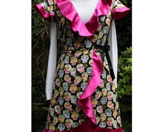 skull wrap dress sugar skulls dress day of the dead dress with pink satin frills