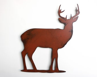 "Deer buck stag metal wall art - 18"" tall wall art - deer brown with rust accents - metal wall hanging"