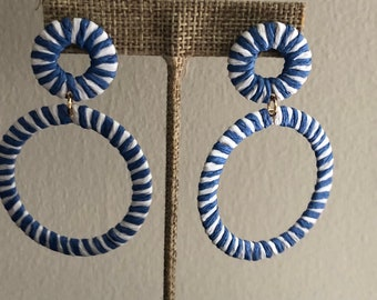 Blue and white striped earrings
