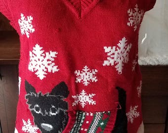 Vintage Ugly Christmas Sweater Vest Pullover Festive Holiday Puppy Dog Scottie