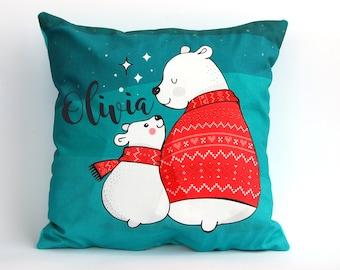 Personalized Baby Pillow, Personalized Pillow Case, Bear Pillow, Polar Bear Pillowcase, Nursery Pillows,  Personalized Pillow, Nursery Decor