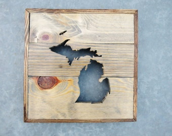 Rustic Reclaimed Wood State Outline Cutout / Custom Wall Decor / State of Florida / State of Michigan / State of West Virginia / USA