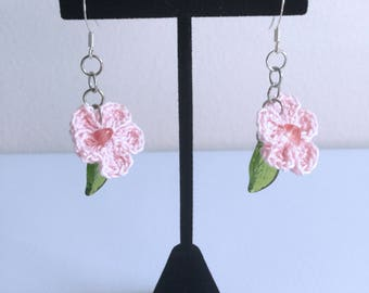 Crocheted Hibiscus Flower Dangle Earrings - Light Pink - Stone Accent - Ready to Ship