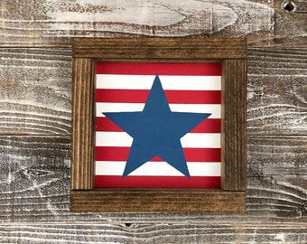 Double sided Red white and blue stripes blue star, and 4th of july  wood sign