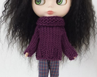 Blythe doll Rita Sweater knitting PATTERN - worsted weight cozy big neck sweater - instant download - permission to sell finished items