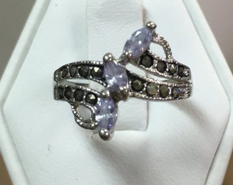 Amethyst and Marcasite Swirl Ring in Sterling Silver Size 7