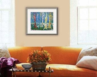 tree art, tree artwork, tree painting, landscape art, tree wall art, birch tree art, watercolor mixed media collage, blue brown green PRINT