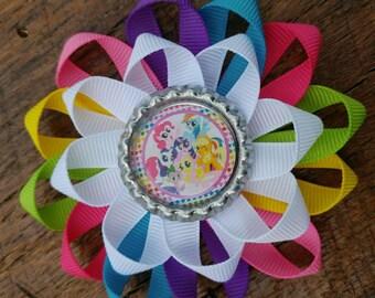 My Little Pony inspired hair bow, Rainbow Dash hair bow, girls hair bow, colorful hair bow, Bottlecap hair bow, girls bow