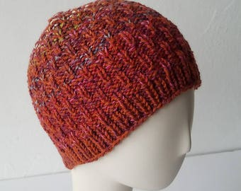 Hand Knit Hat in Orange & Berry Mix – Adult One Size