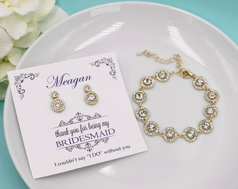 Bridesmaid Bracelet Set 4 5 6 7 8, Bridesmaid Bracelet Earrings, Gold Bridesmaid Jewelry Gift, Aubrie Gold Crystal Bridesmaid Bracelet Set