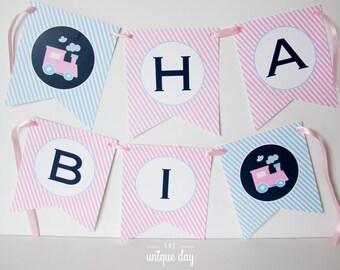 Train Birthday Banner - Printable Happy Birthday Banner - Girl Birthday // TRAG -07