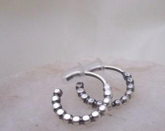 Small sterling silver beaded hoop earrings