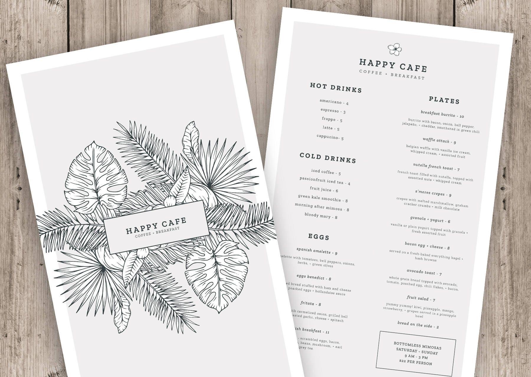 Menü-Vorlage Instant Download Photoshop-Vorlage Restaurant