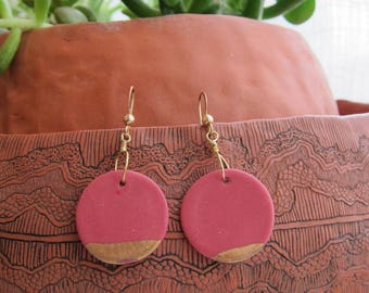 Dusty Red Round Porcelain Ceramic Earrings