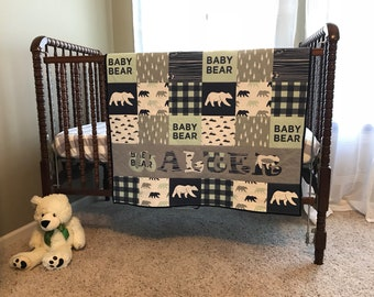 Baby Bear Personalized Baby Quilt, Blanket, Crib Size, Navy Blue, Gray, Rustic, Mint, Mountains, Buffalo Plaid, Green, Name, Navy Blue, Boy