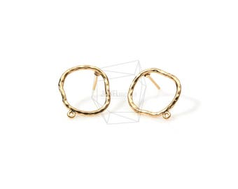 ERG-540-MG/2PCS/Hammered Circle Ear Post/15mm x 15mm/Matte Gold Plated over Brass