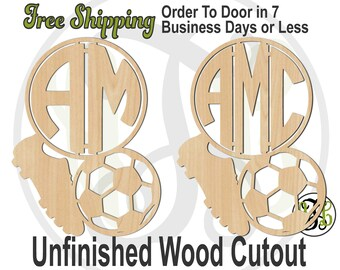 Soccer Cleat and Ball 2 or 3 Initial Monogram -990033M2or3- Sport Cutout, unfinished, wood cutout, wood art, laser cut, wood cut out, wooden