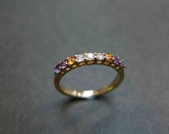 Diamond Wedding Ring with Citrine and Amethyst, Citrine Ring, Amethyst Ring, Diamond Engagement Ring, Diamond Ring, Diamond Wedding Band