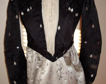 Victorian Outfit Gown/ Hat All Original 2Pc. Dress Coordinated Silk Fabrics Fully Restored Size 6 Item #128  Victorians