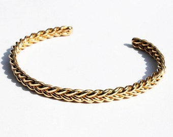 Solid 14k Yellow Gold Braid Bracelet