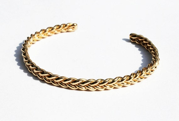 Solid 5k Yellow Gold Braid Bracelet-Ready to ship