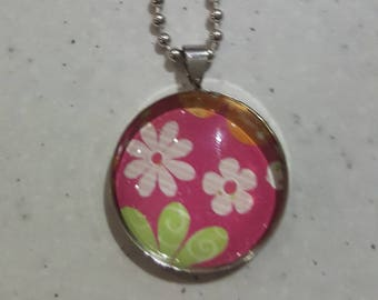 Pink Floral Silver Pendant Necklace