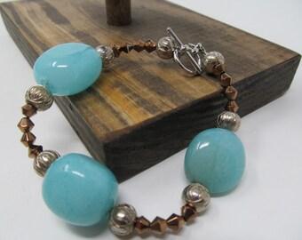 Aquamarine Color Beaded Bracelet - Beautiful! - vintage jewelry for women
