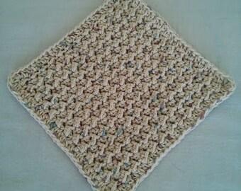 Crochet Wash Cloth, Handmade of 100% Cotton, Natural