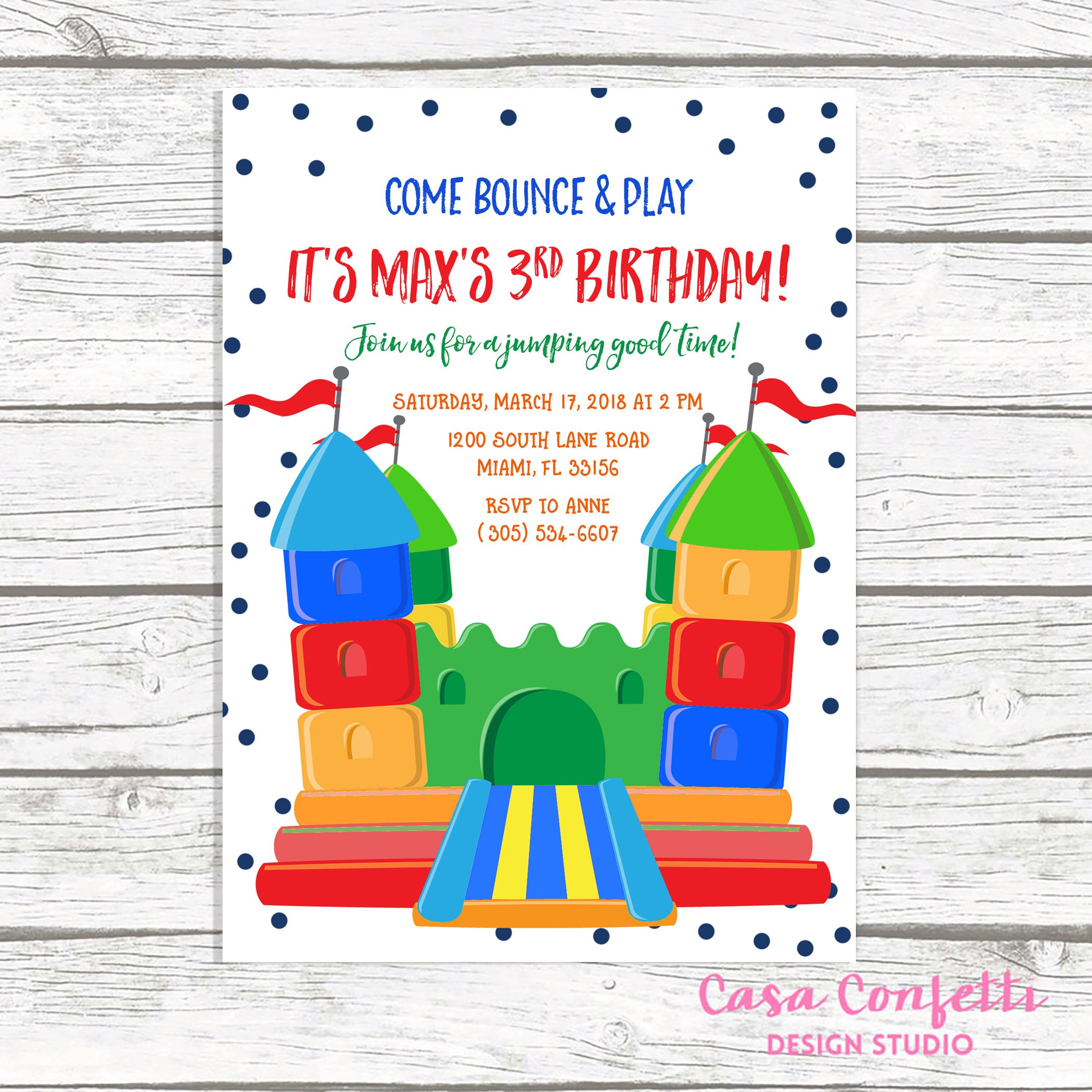 Bounce House Birthday Invitation, Jump Party Invitation, Bounce ...