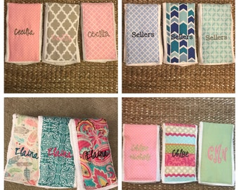 3 Burb Cloths Personalized with embroidery