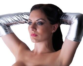 Silver Armwarmers Shiny Metallic Sleeves Arm Warmers Gauntlets Fingerless Gloves Lycra Spandex G87