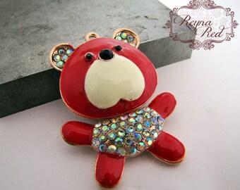 Teddy Bear Enamel & Rhinestone Pendant, stuffed bear pendant, teddy bear pendant, red bear, enamel bear focal - reynared supplies