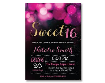 Sweet 16 Invitation. Pink and Gold Sweet 16 Birthday Invitation. Sweet Sixteen Birthday Party. Pink and Gold Glitter Glam. Printable Digital
